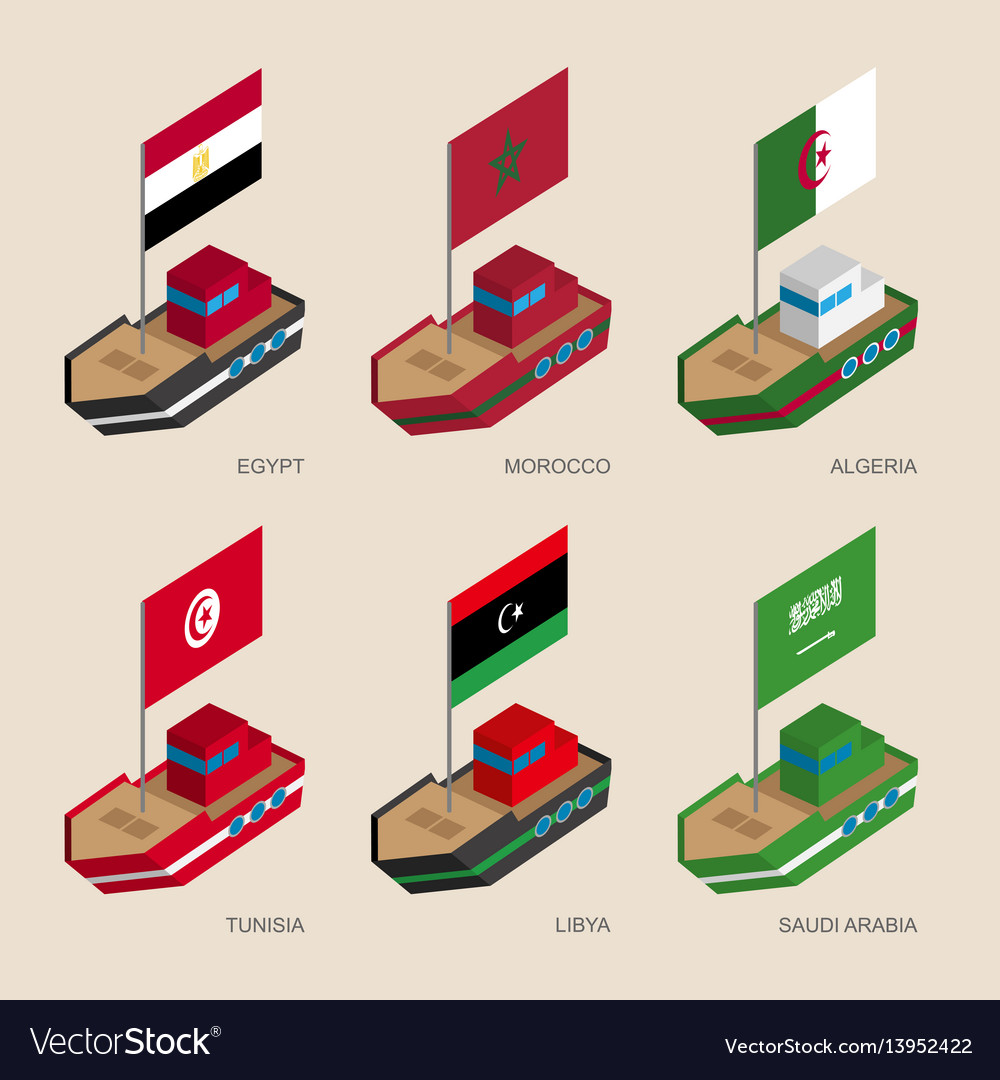Isometric ships with flags of middle east