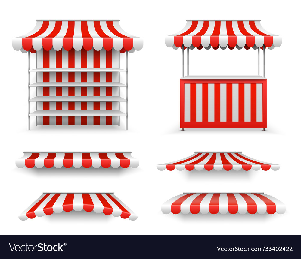 Open air stalls market stand mockup isolated
