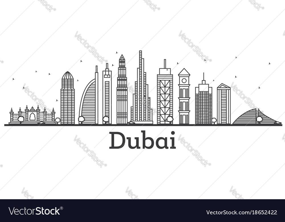 outline dubai uae skyline with modern buildings vector image