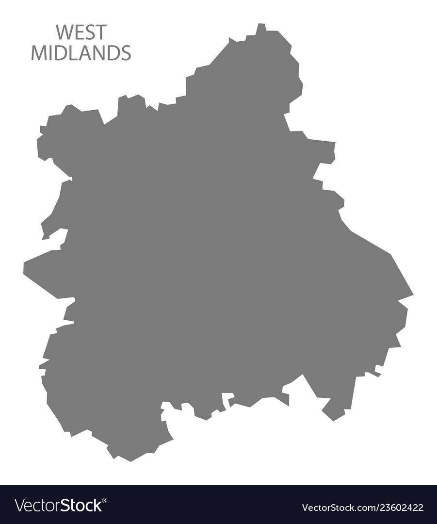 West Midlands England Map Grey Royalty Free Vector Image