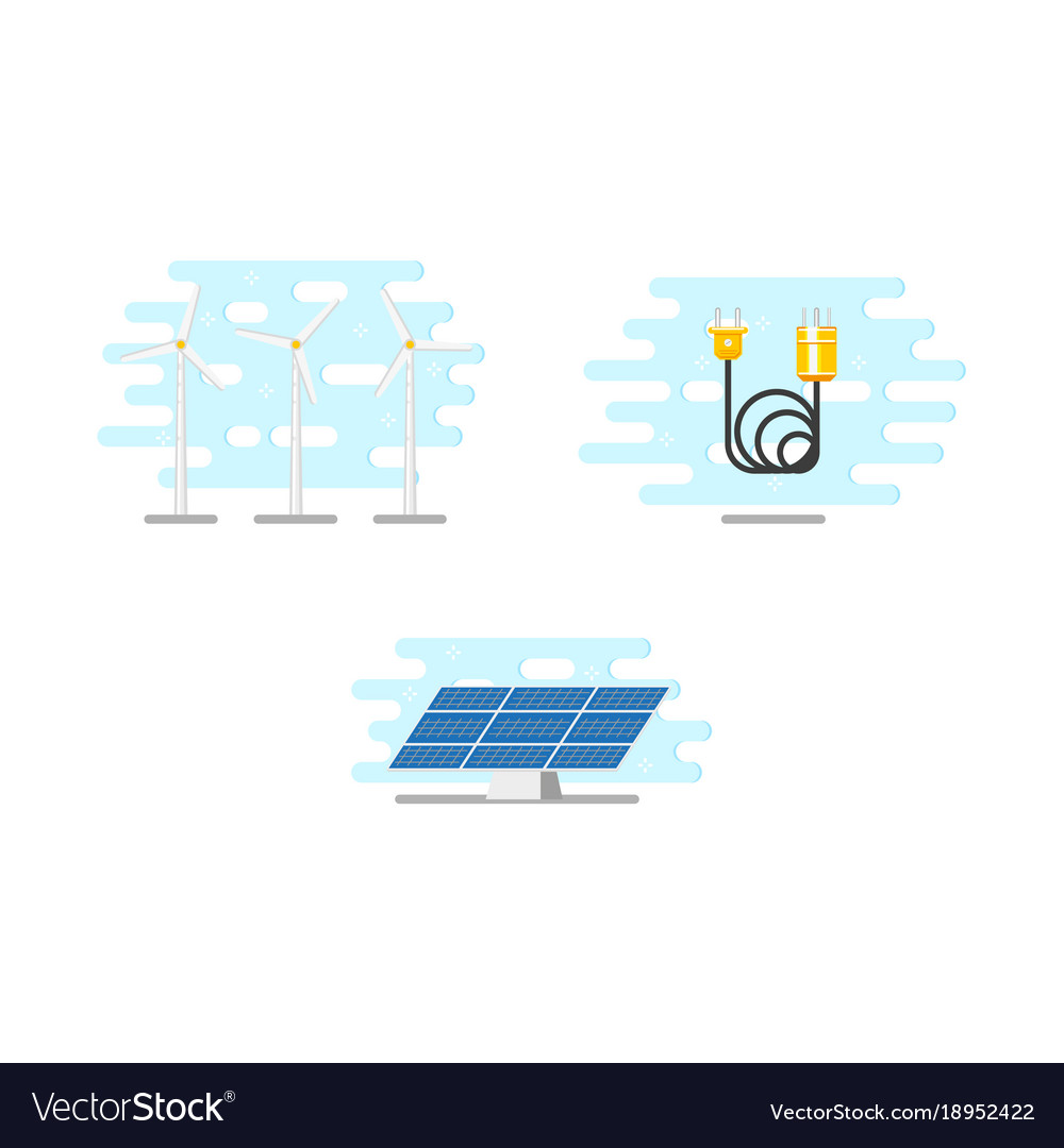 Windmills solar panel and electric power cable