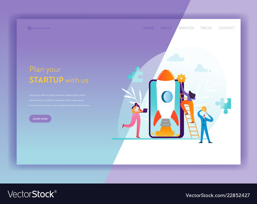 Business startup landing page template mobile