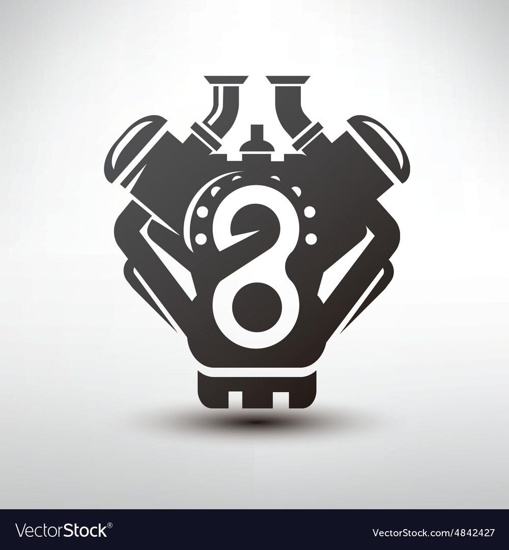Car engine symbol stylized silhouette of