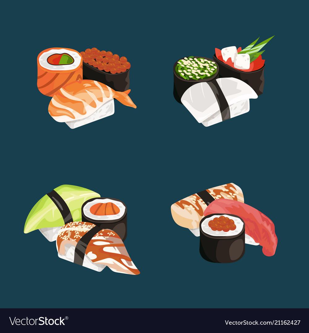 Cartoon sushi types piles set