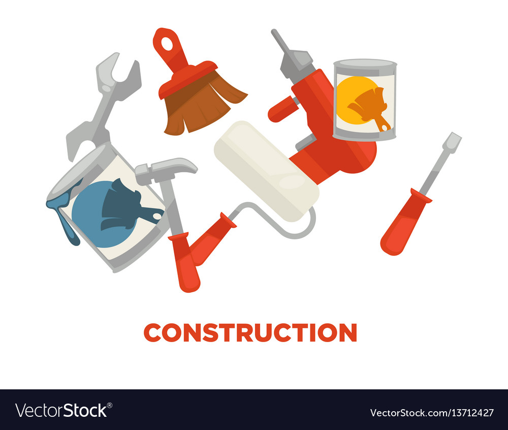 Construction tools colorful set isolated on