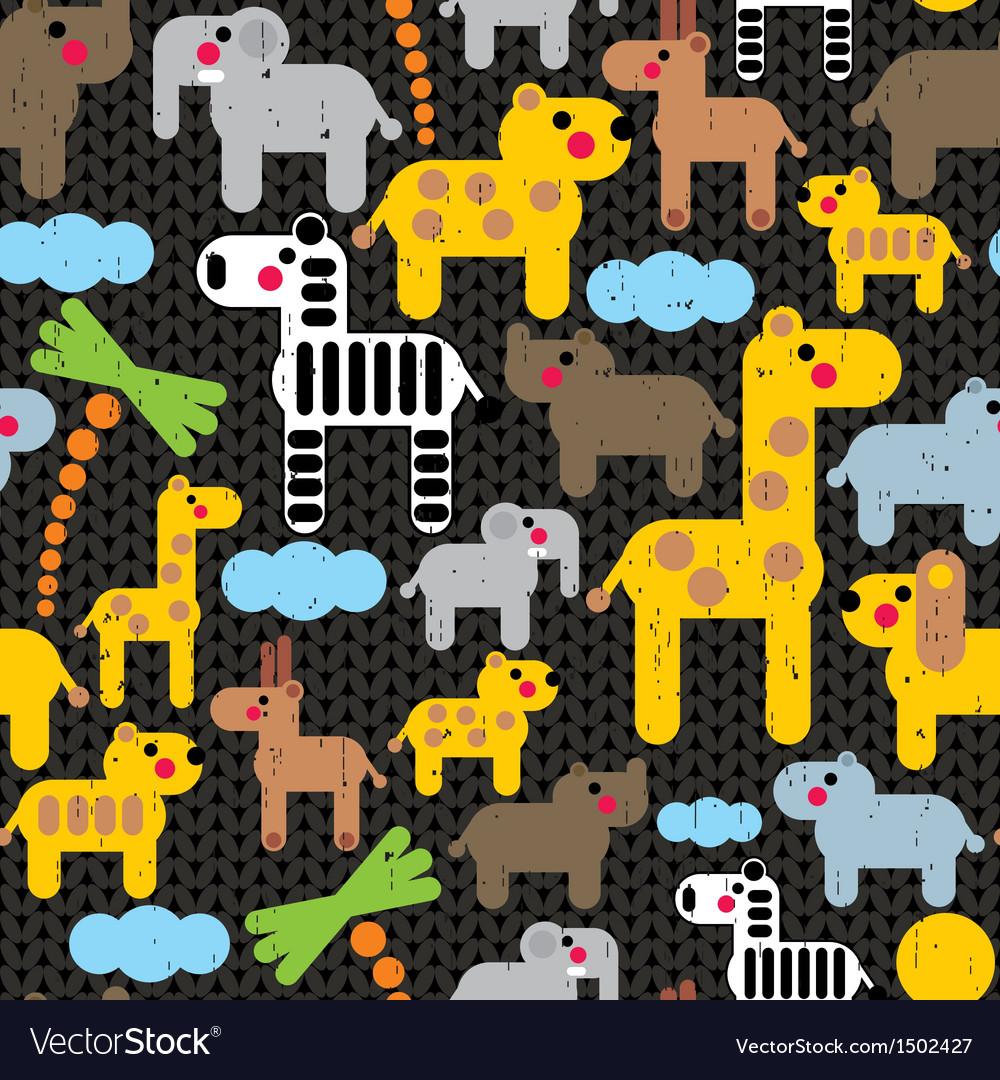Cute african animals seamless pattern