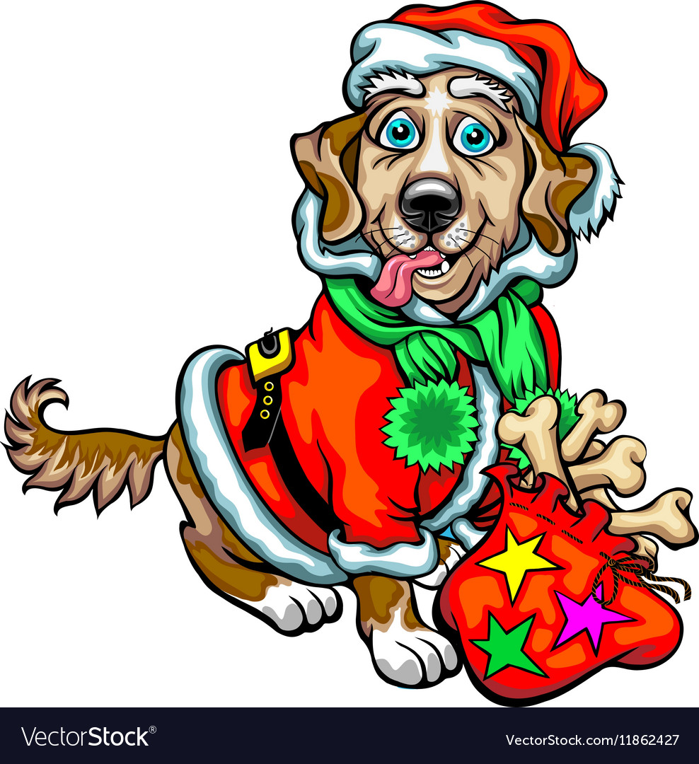 Dog with Christmas gifts Santa Claus Royalty Free Vector