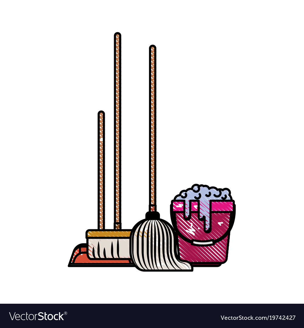 Dustpan And Broom And Mop And Bucket With Water Vector Image