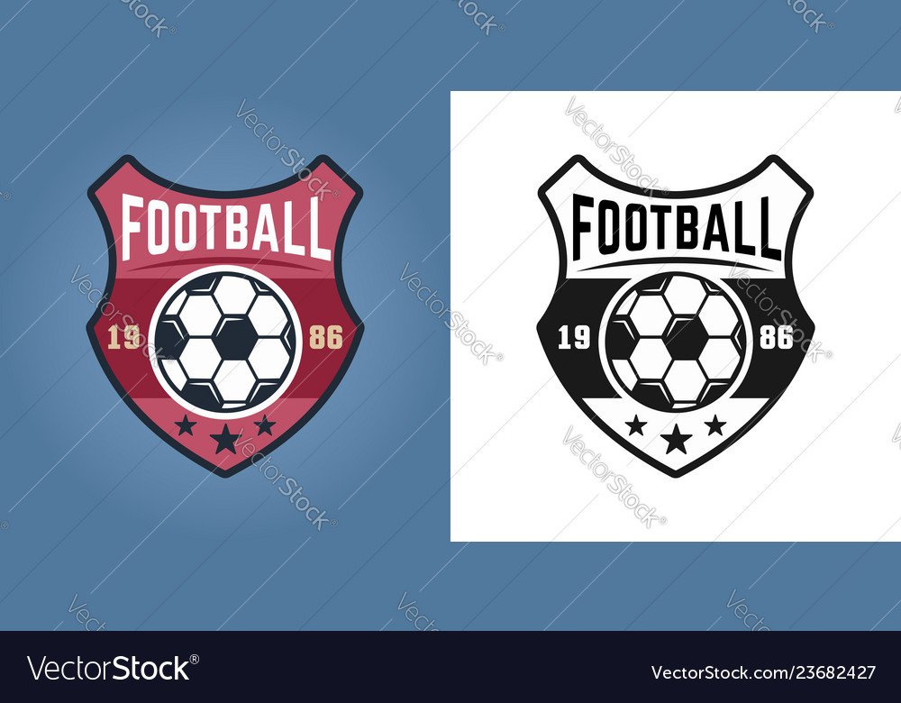 Football shield two styles logos isolated