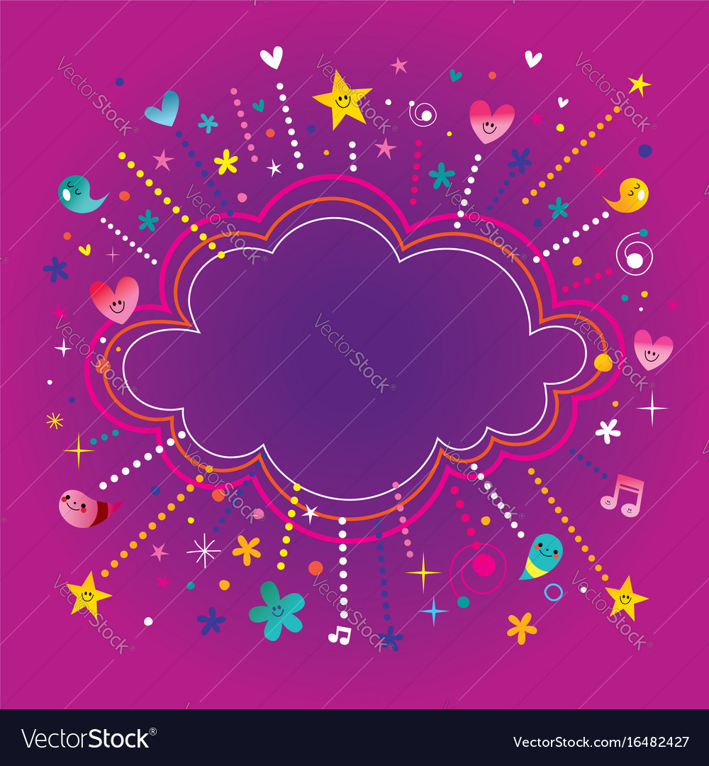Happy fun bursts explosion cartoon cloud shape ban vector image
