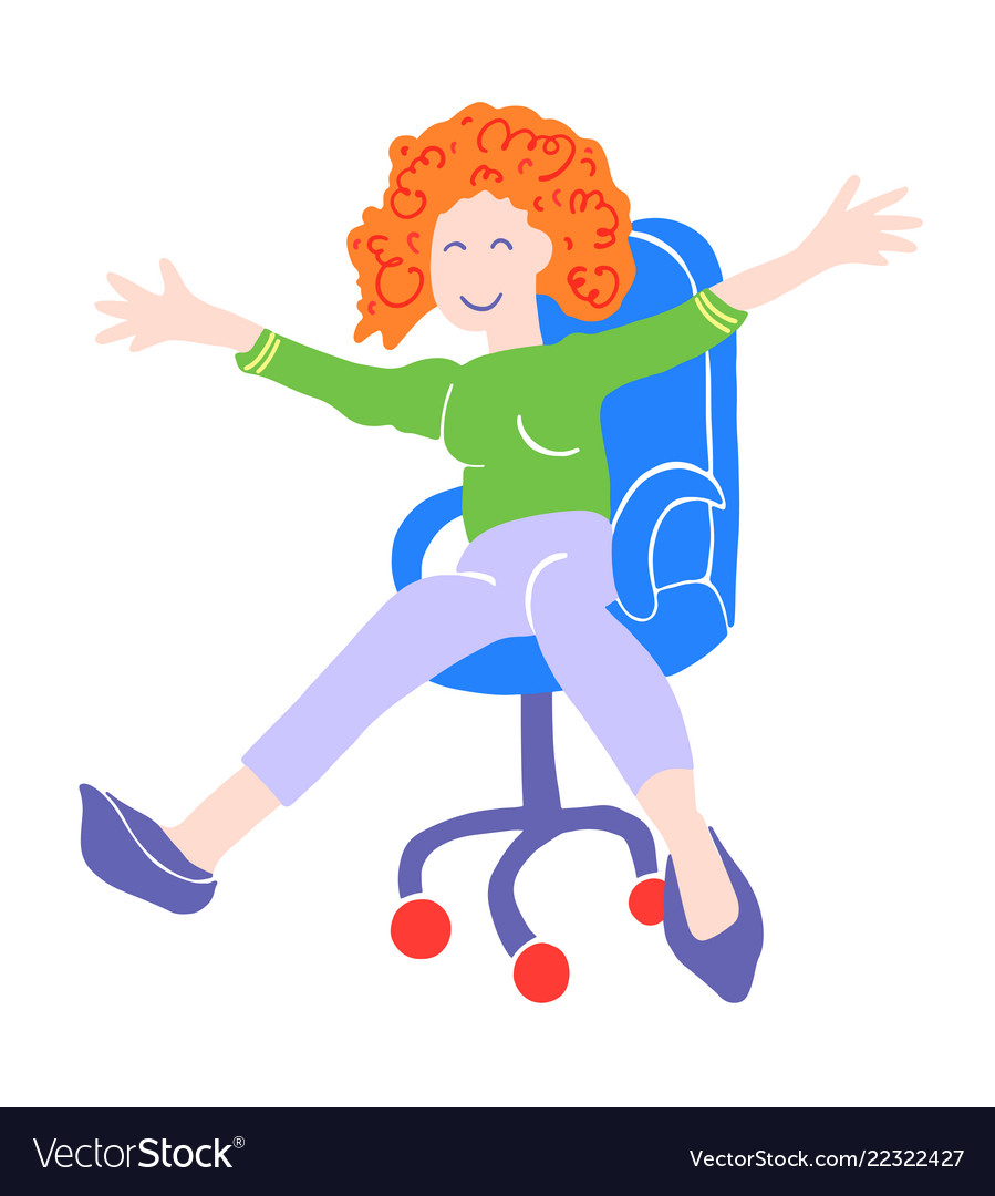 Happy woman is riding in an office chair
