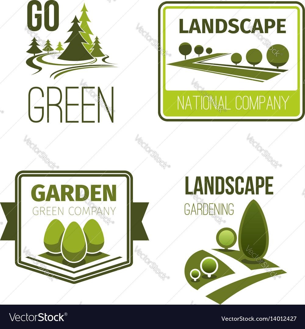 Landscape design gardening service emblem set vector image