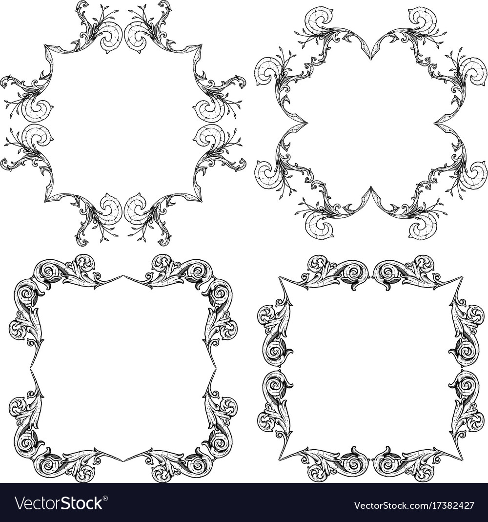 Ornate scroll frames Royalty Free Vector Image