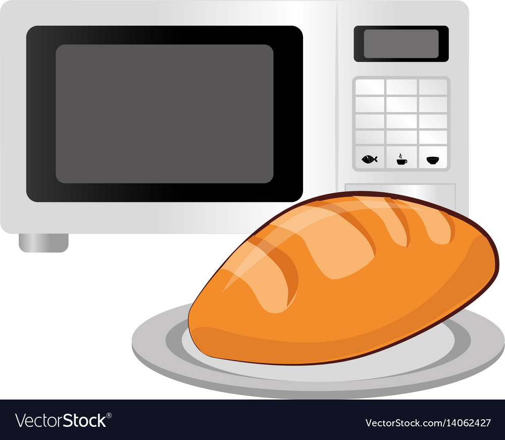 Oven microwave with bread vector image