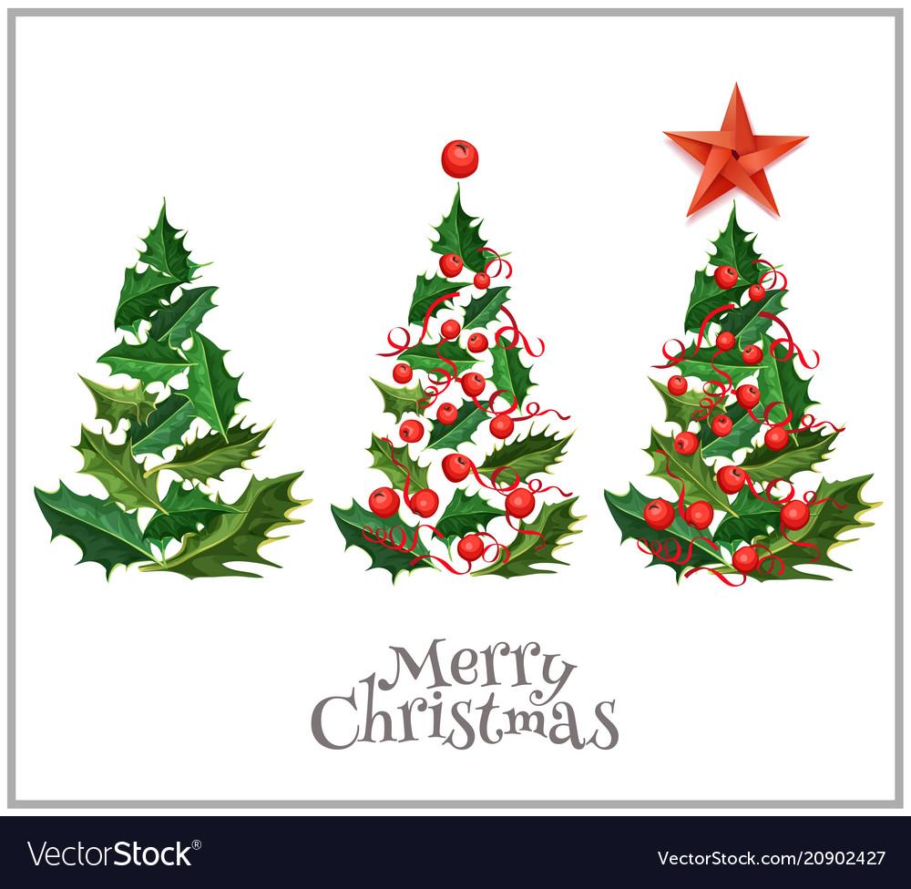Realistic christmas tree holly xmas set