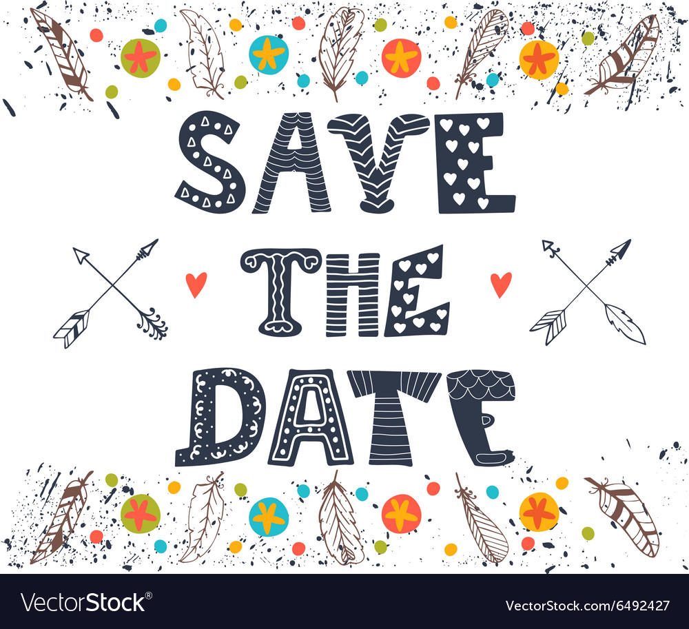 Save the date Wedding invitation card with cute vector image