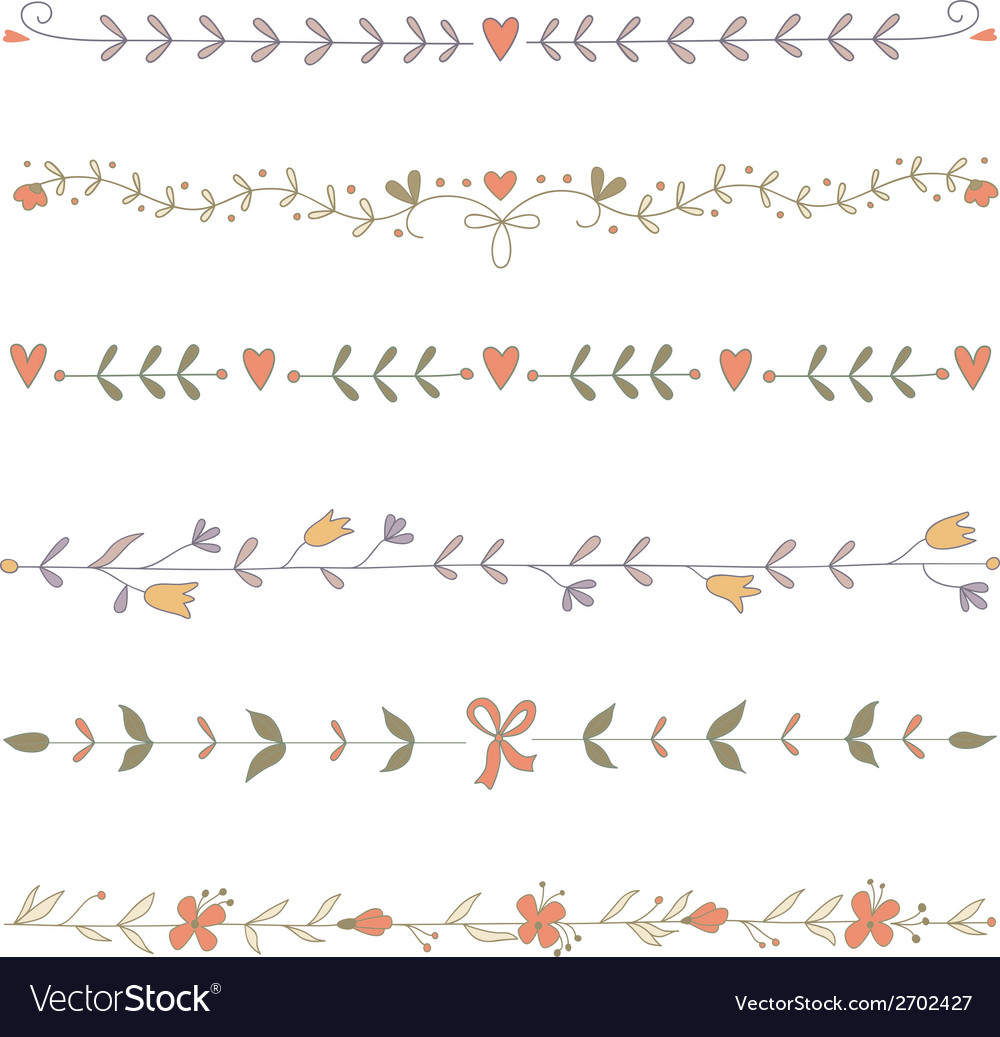 Set of hand drawn floral border elements vector image