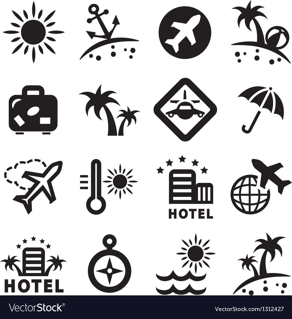 Travel ions set vector image
