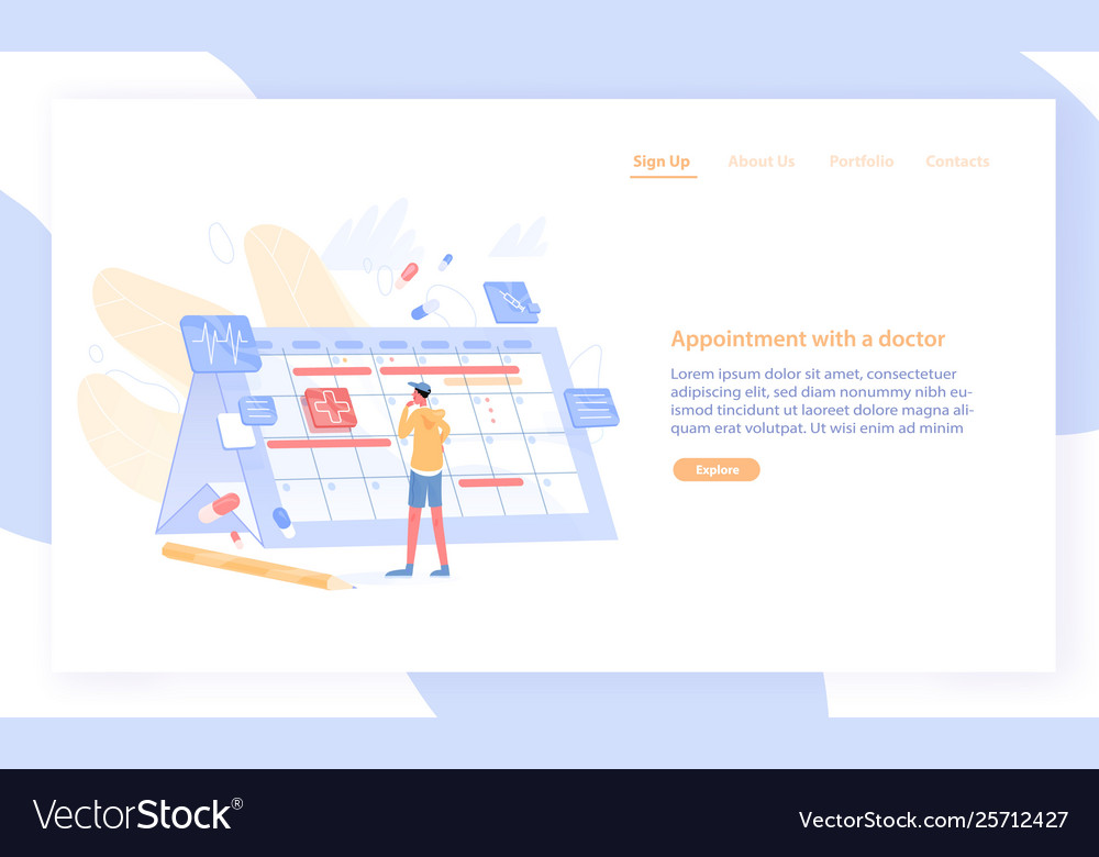 Website or web banner template with man looking at