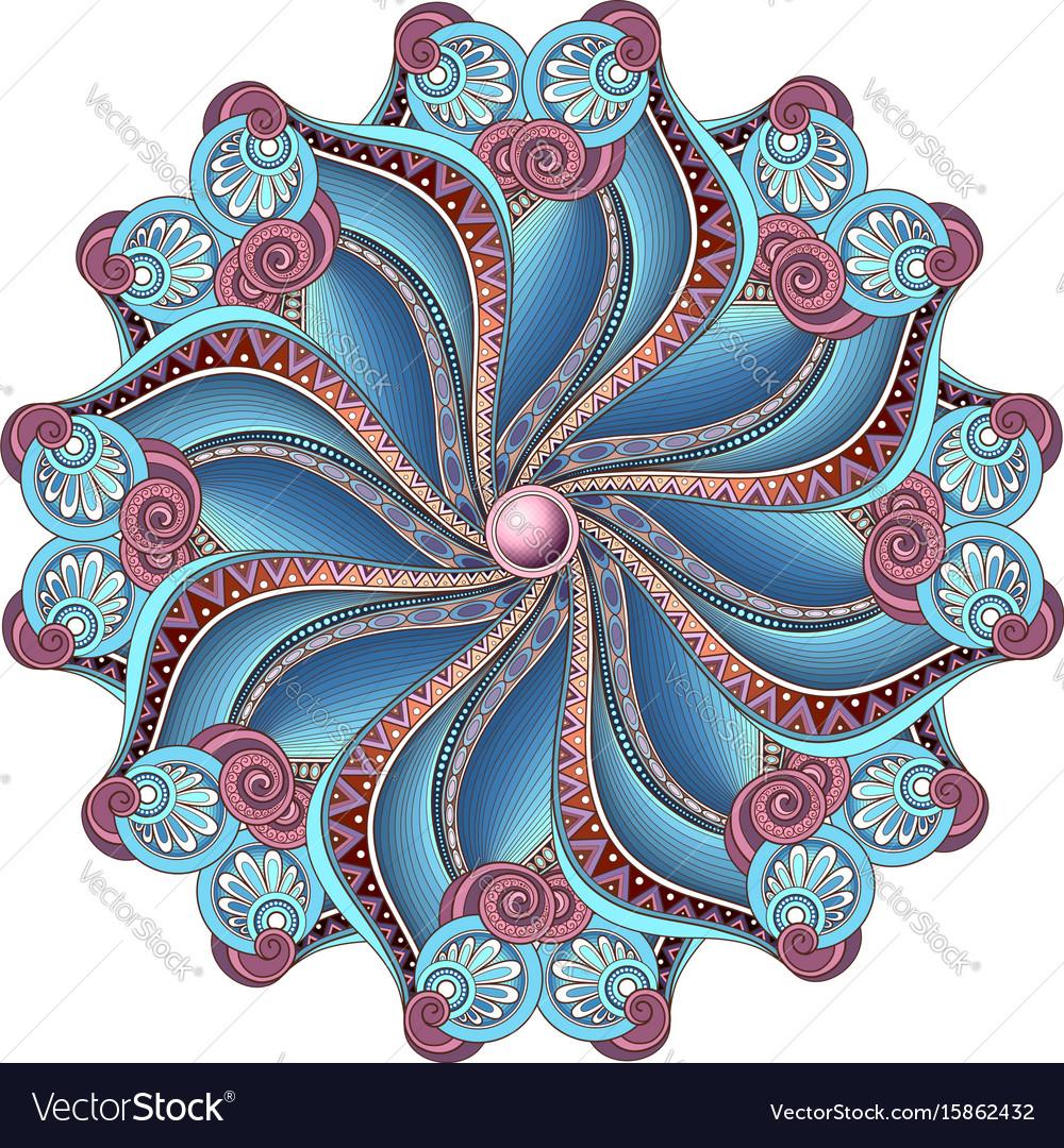 Beautiful deco colored contour mandala