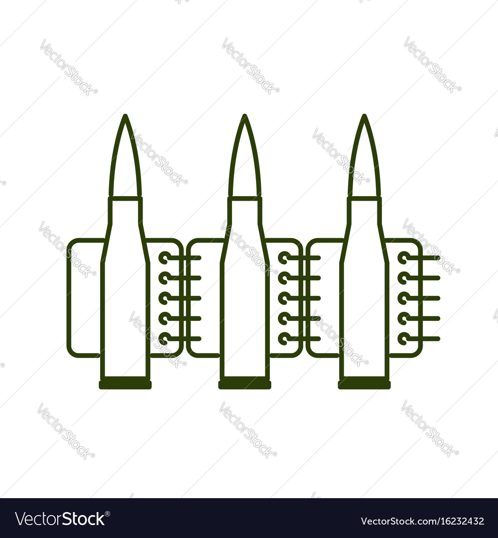 Bullets clip line style ammunition sign icon