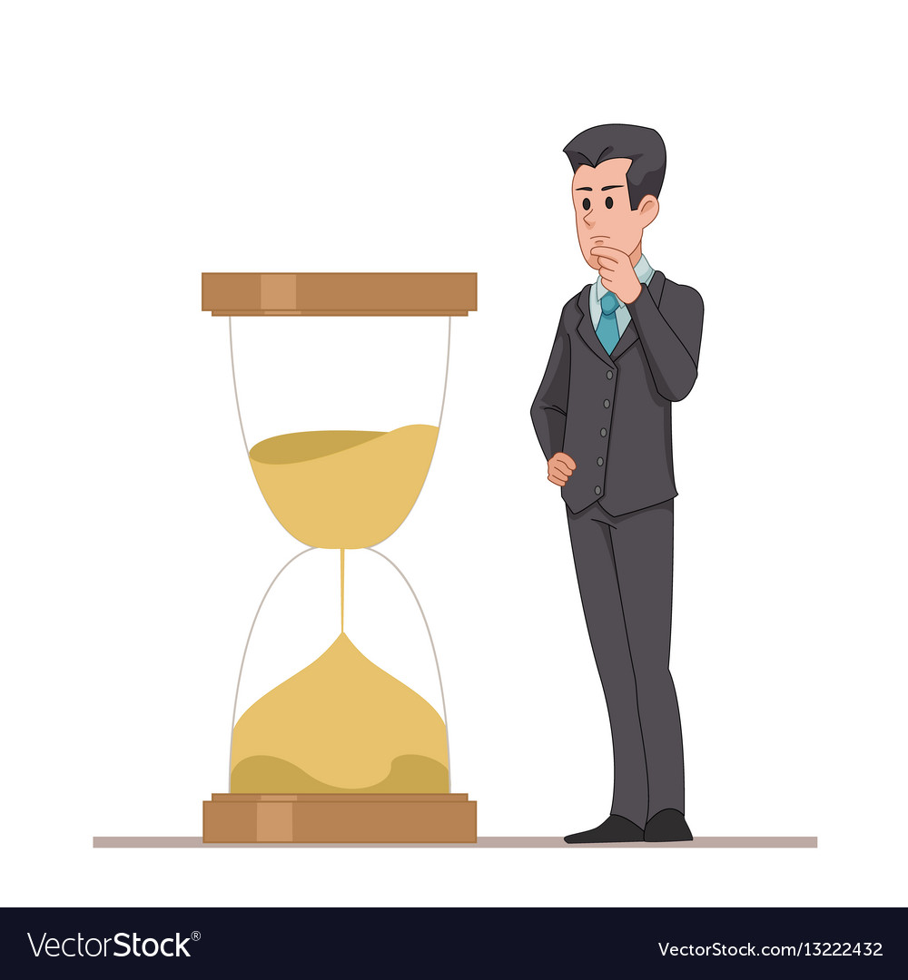 Businessman or manager looks at the hourglass