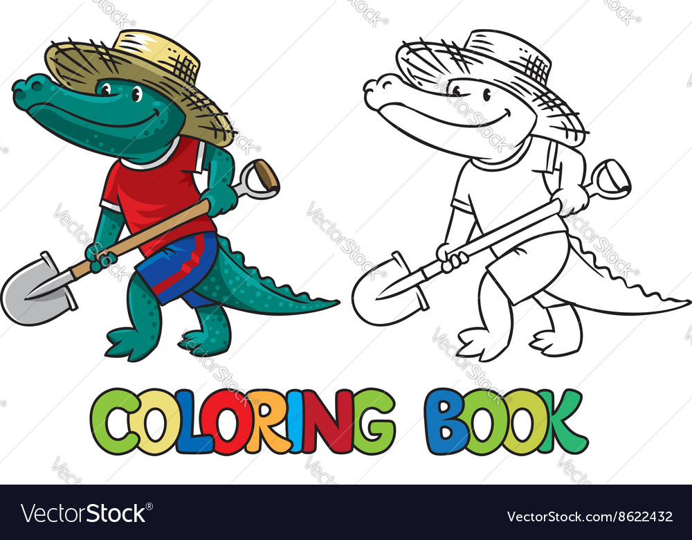 crocodile farmer coloring book vector