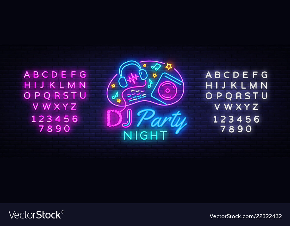 Dj music party neon sign design template