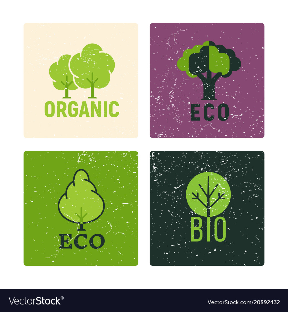 Eco and organic labels design with grunge