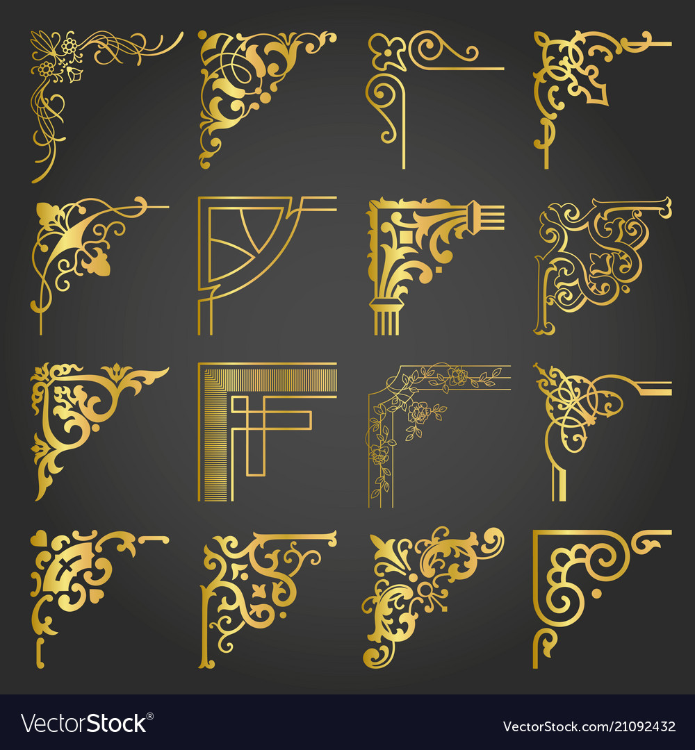 Gold vintage design elements corners and borders
