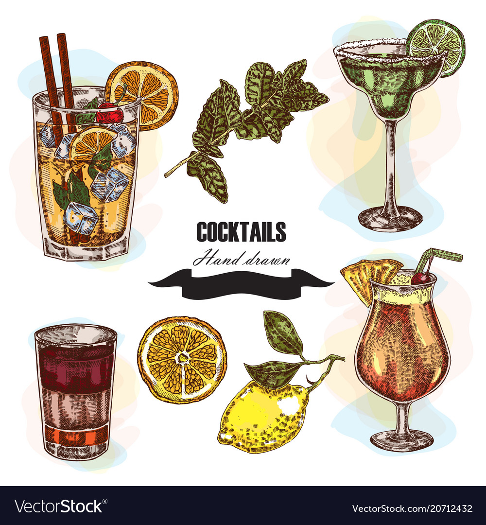 Hand drawn sketch cocktail set vector image