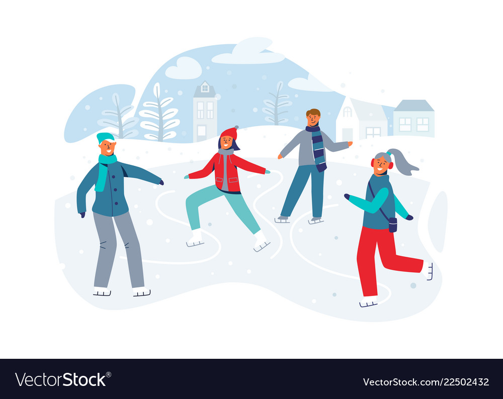 Happy characters skating on ice rink winter season