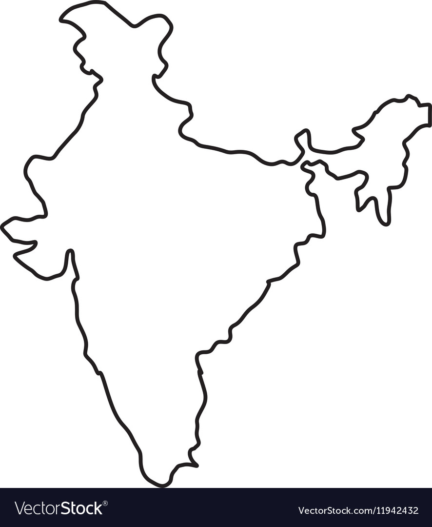 Perfect India Map Silhouette Vector Image