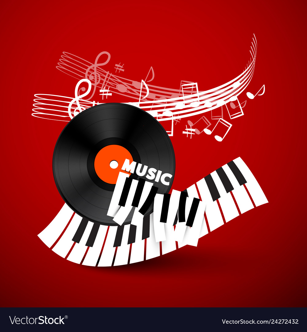 Music design background with vinyl record piano