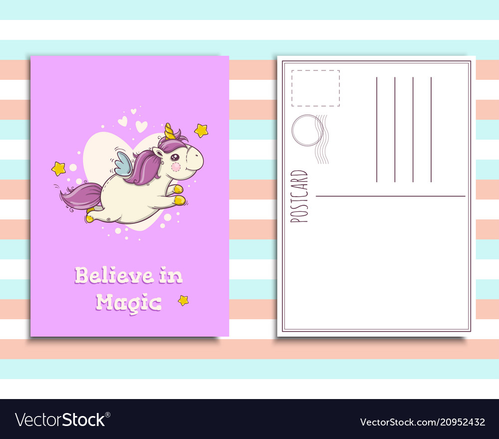 Postcard invitation template with cute unicorn