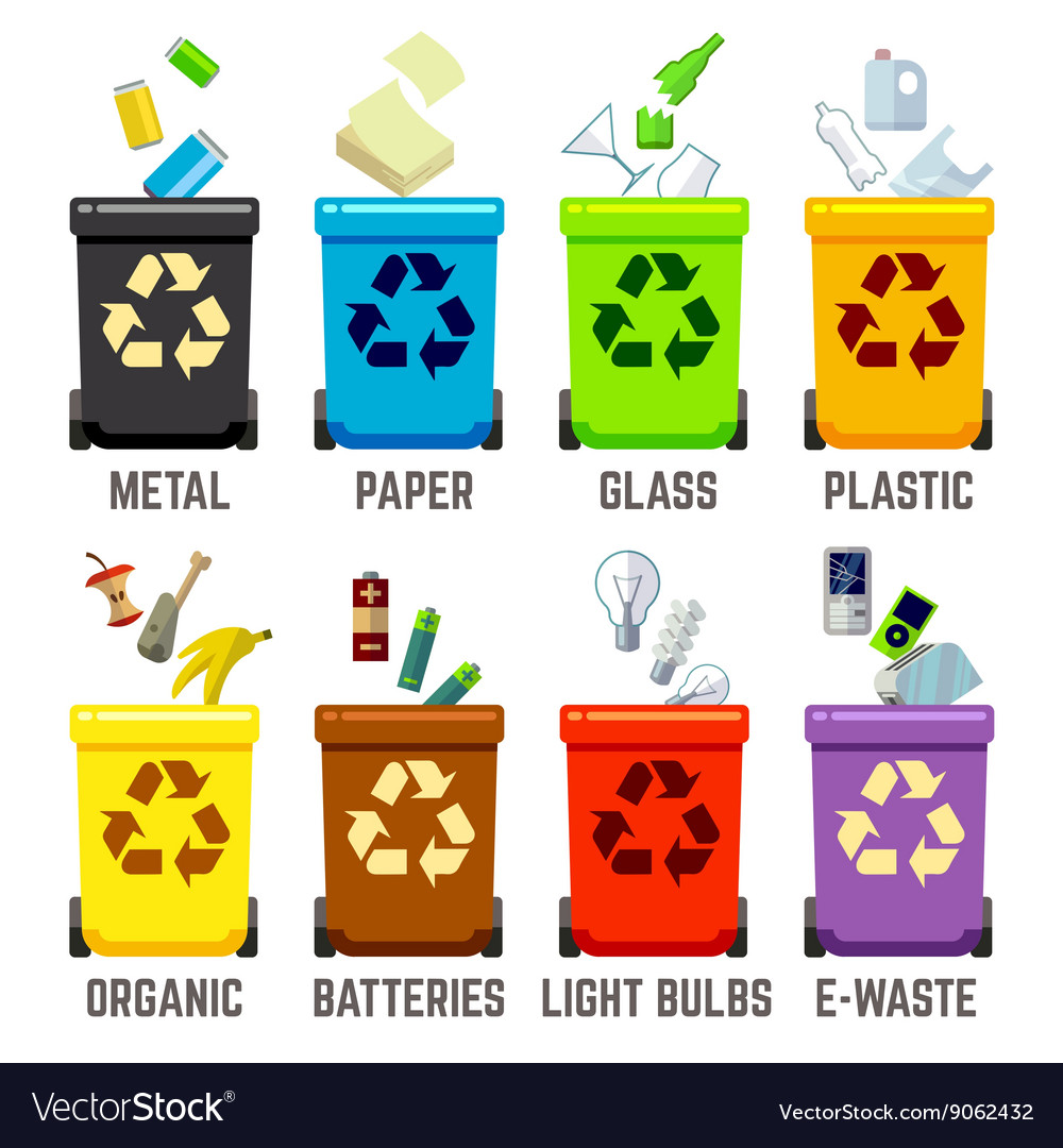 Recycle bins with different types of waste vector image