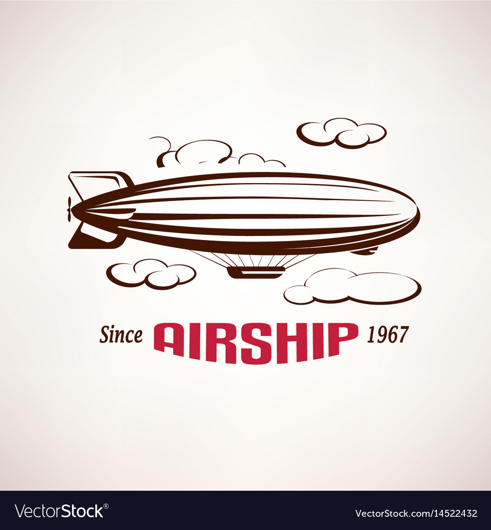 Retro airship emblem template