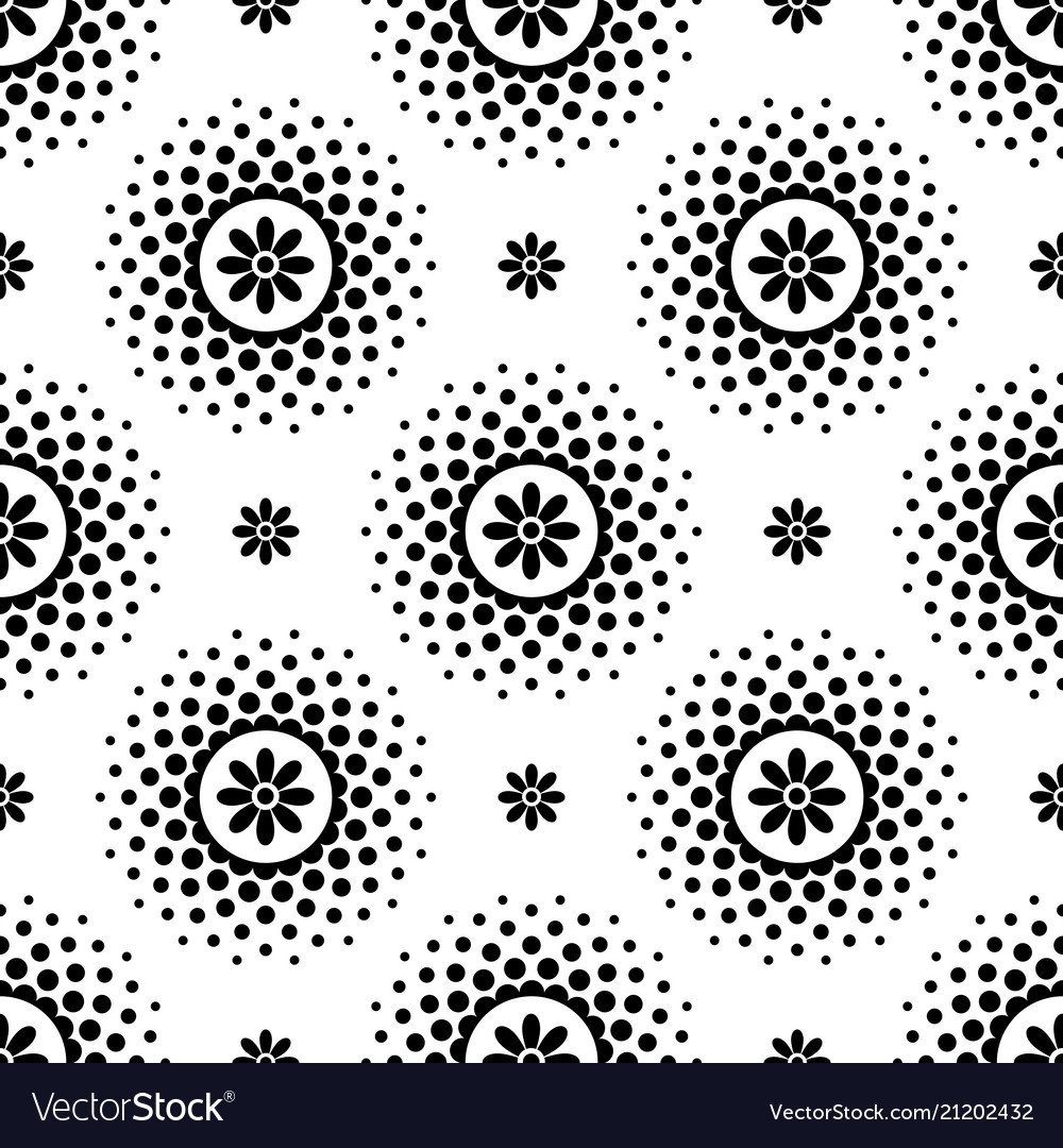 Seamless pattern with black flowers and halftone