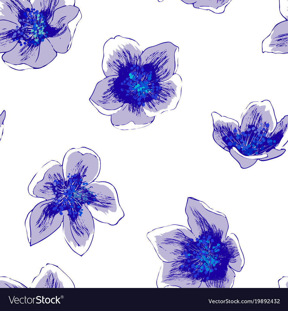 Seamless Pattern With Jasmine Flowers Royalty Free Vector