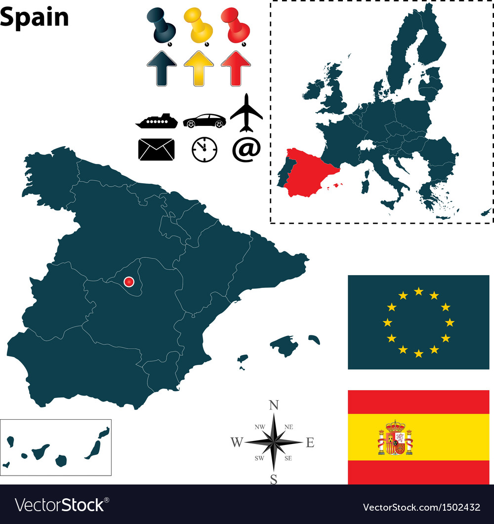 Spanish and European Union map