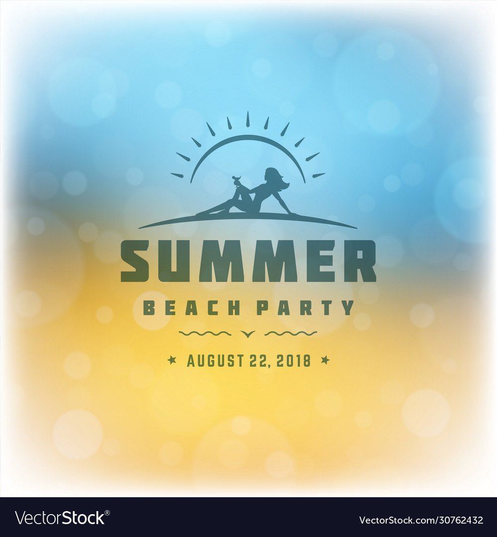 Summer beach party label or badge typography