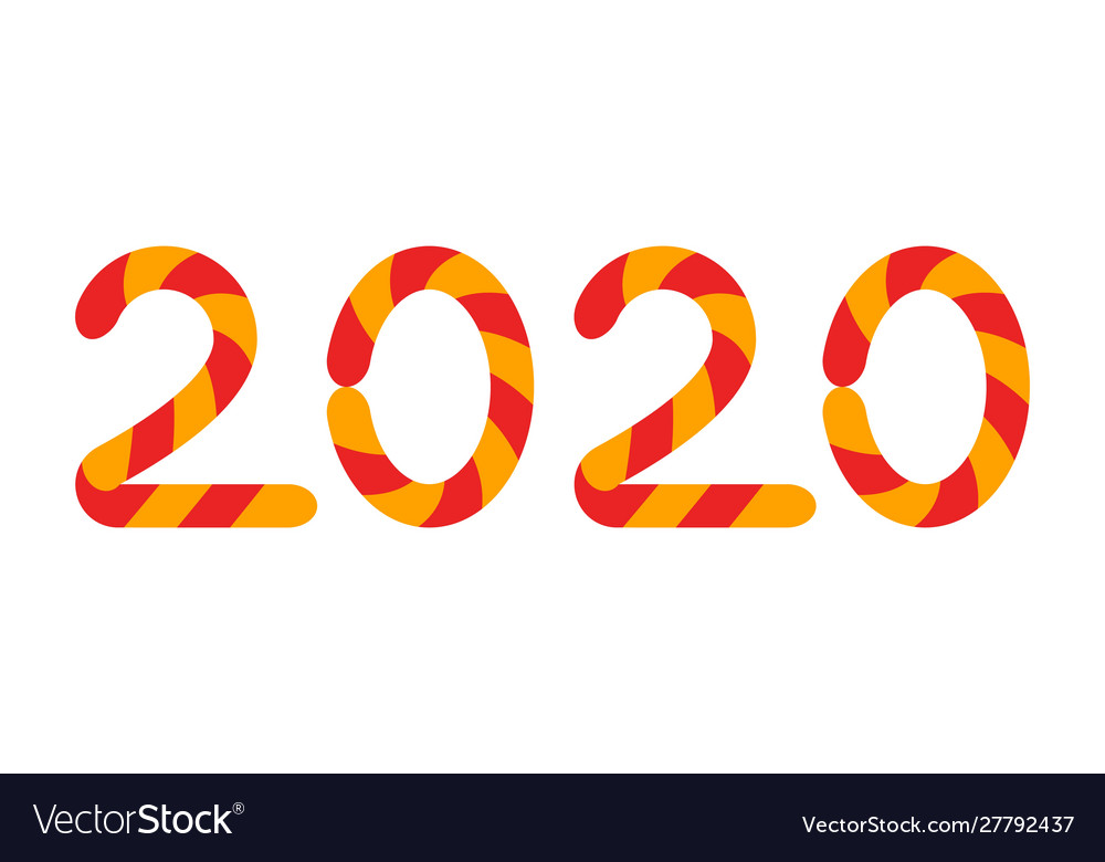 2020 christmas candy cane font on white