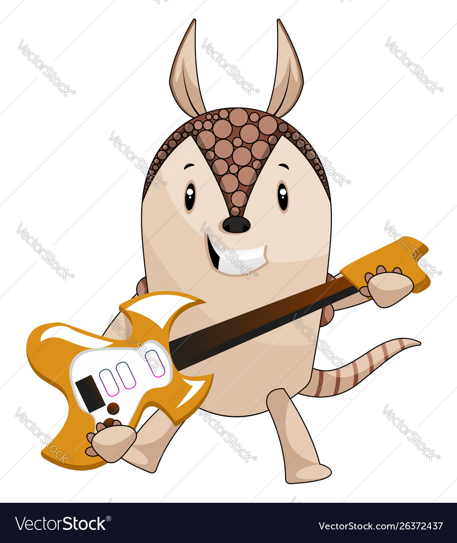 Armadillo playing guitar on white background