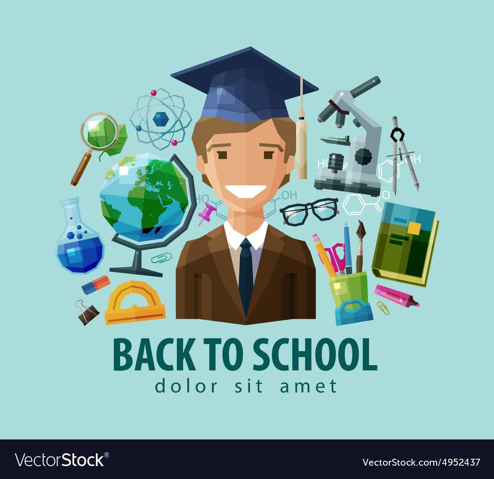 Back to school logo design template vector image