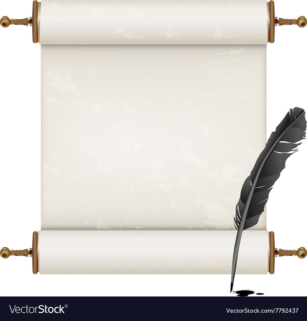 Black feather and ancient scroll