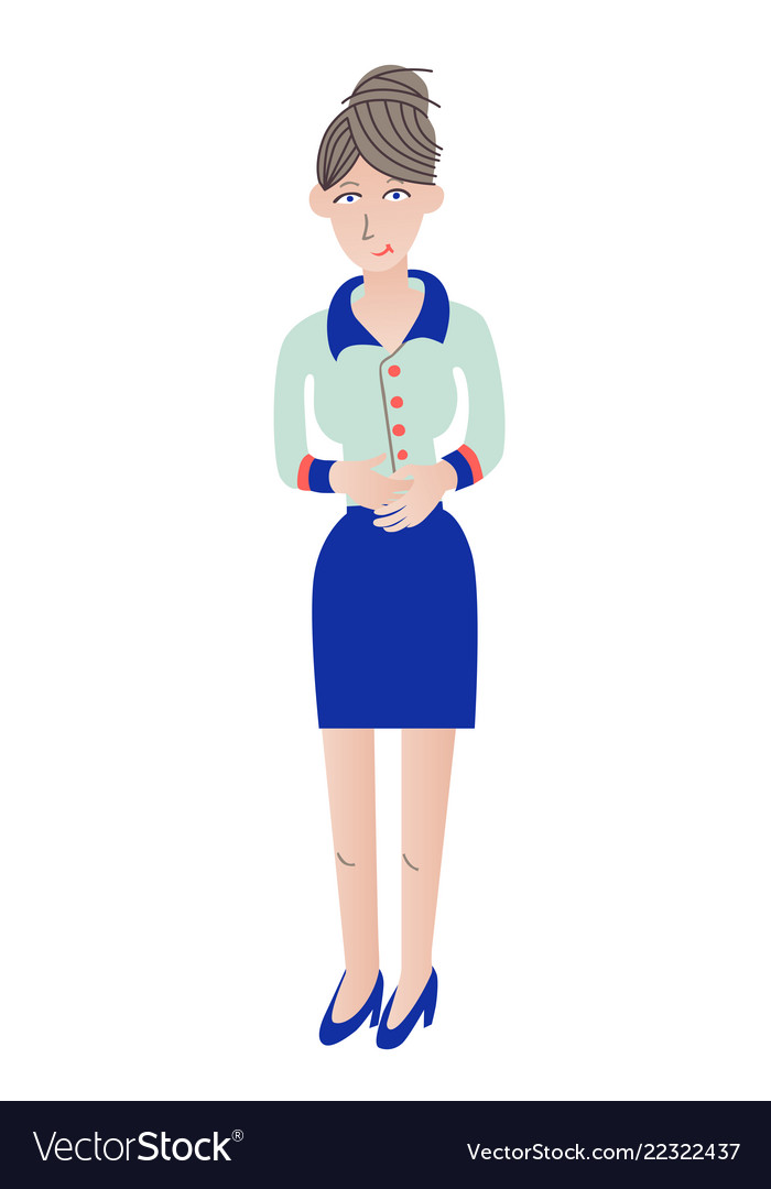 Business woman standing with hands clasped flat