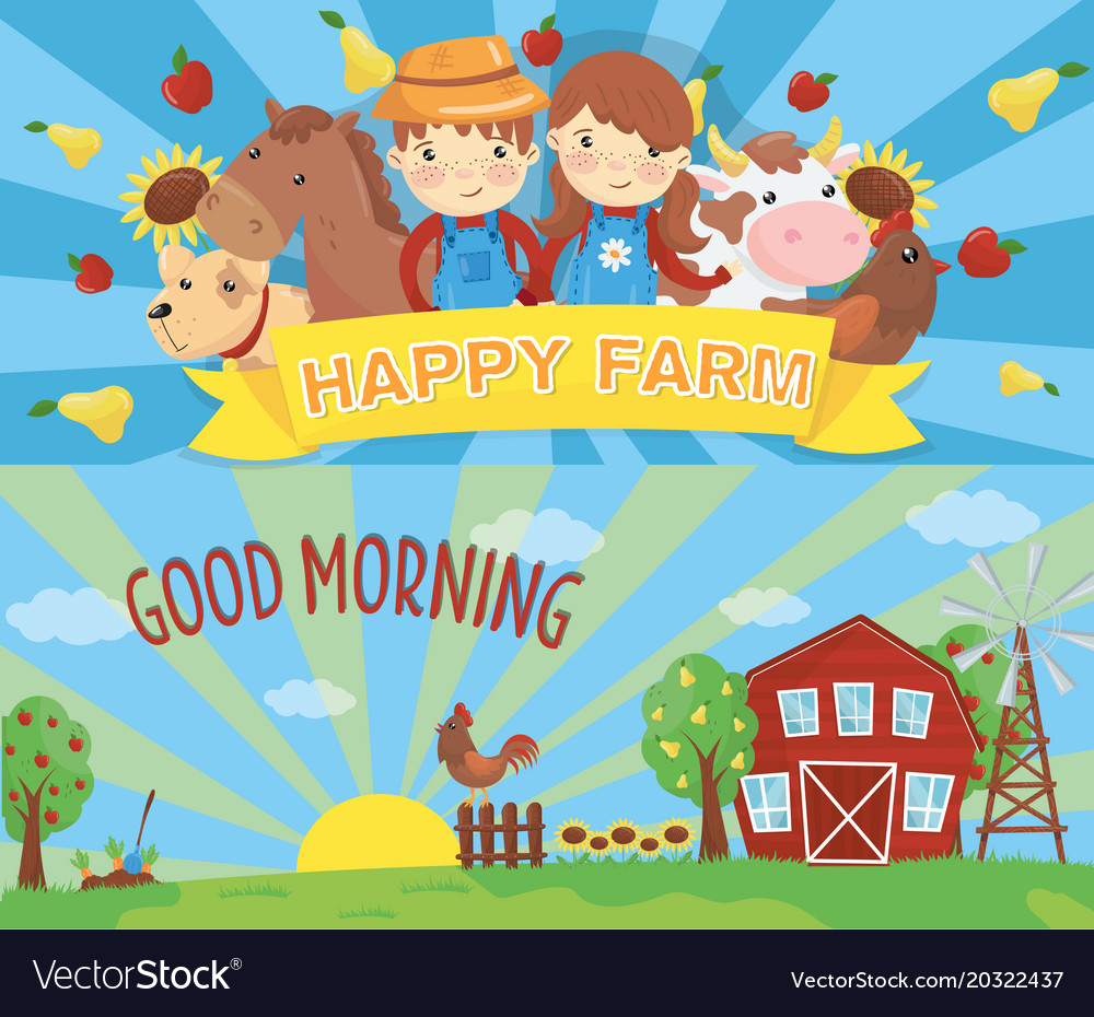 Cartoon farm banners rural landscape with wooden