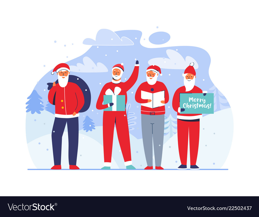 Christmas santa claus characters snowy background