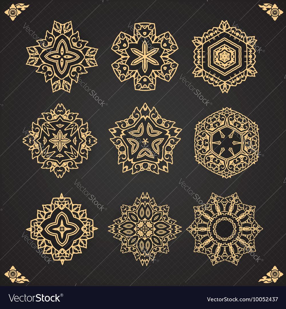 Design elements graphic Thai design isolated
