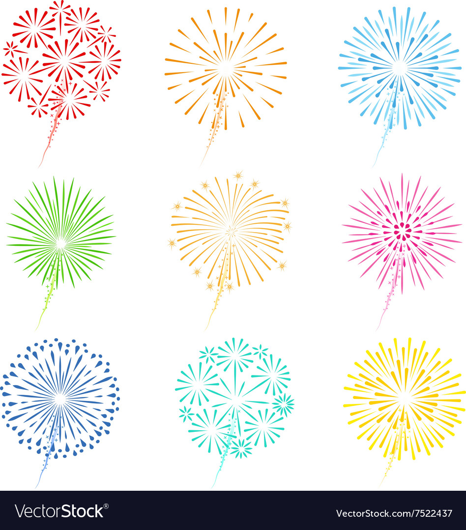 Festive fireworks icons Royalty Free Vector Image Fireworks Icons Free